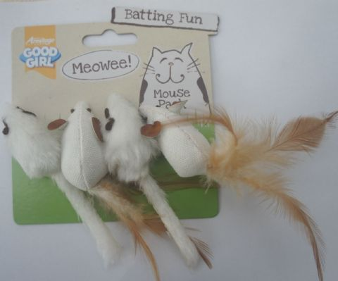 CAT TOY MICE PACK OF 4 GOOD GIRL MEOWEE BATTING  MICE FOR CATS AND KITTENS